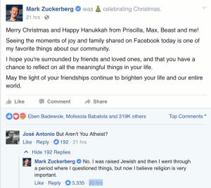 An Atheist RespondsToMark Zuckerberg